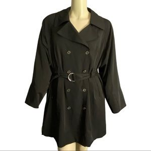 Pennington's Black Belted Trench Coat Size 2X